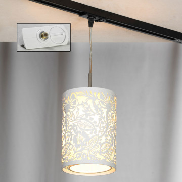 Подвесной светильник для шинной системы Lussole Loft Vetere LSF-2306-01-TAW, IP21, 1xE14x40W, белый, металл, металл с пластиком