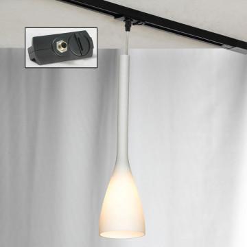 Подвесной светильник для шинной системы Lussole Loft Varmo LSN-0106-01-TAB, IP21, 1xE14x40W, никель, белый, металл, стекло
