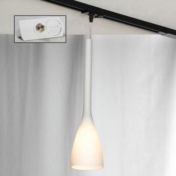 Подвесной светильник для шинной системы Lussole Loft Varmo LSN-0106-01-TAW, IP21, 1xE14x40W, никель, белый, металл, стекло