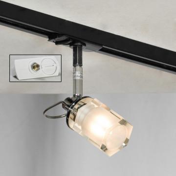 Светильник с регулировкой направления света для шинной системы Lussole Abruzzi LSL-7901-01-TAW, IP21, 1xG9x40W, черный, белый, металл, стекло