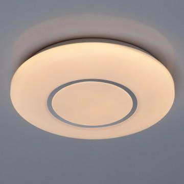 Потолочный светодиодный светильник De Markt Ривз 674017001, LED 18W 3000K (теплый), белый, хром, металл, пластик