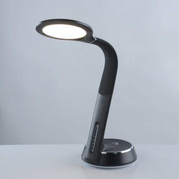 Настольная светодиодная лампа De Markt Ракурс 631035501, LED 10W 3000K 600lm, черный, пластик, кожзам