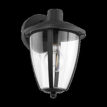 Настенный фонарь Eglo Comunero 2 97335, IP44, 1xE27x60W, черный, прозрачный, металл, металл со стеклом/пластиком