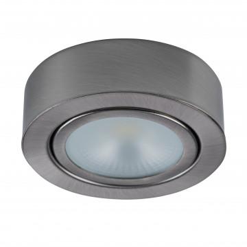 Мебельный светодиодный светильник для встраиваемого или накладного монтажа Lightstar MobiLED 003355, LED 3,5W 3000K 270lm, никель, металл