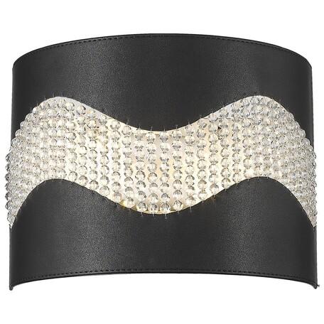 Настенный светильник Wertmark Adriana WE394.02.021, 2xE14x40W, черный, металл, кожа/кожзам