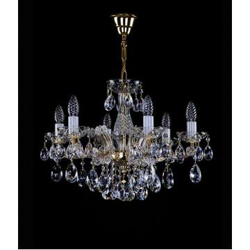Подвесная люстра Artglass MARIA TEREZIA 25 CE, 6xE14x40W, золото с прозрачным и белым, прозрачный с золотом и белым, прозрачный, стекло, хрусталь Artglass Crystal Exclusive