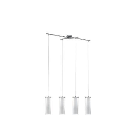 Подвесной светильник Eglo Pinto 89834, 4xE27x60W, хром, белый, прозрачный, металл, стекло