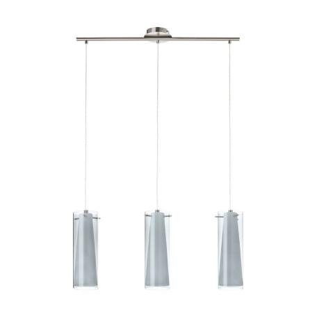 Подвесной светильник Eglo Pinto Nero 90305, 3xE27x60W, никель, дымчатый, металл, стекло