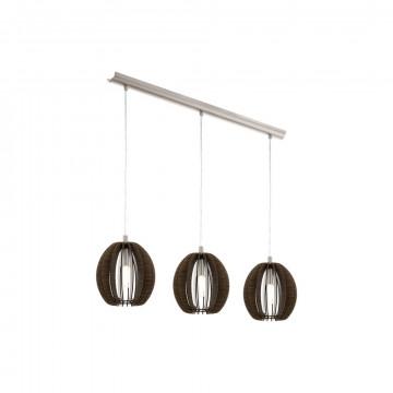 Подвесной светильник Eglo Cossano 94641, 3xE14x40W, никель, коричневый, металл, дерево
