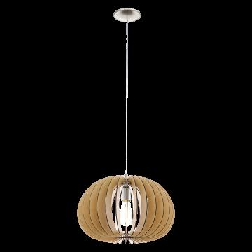 Подвесной светильник Eglo Cossano 94767, 1xE27x60W, никель, коричневый, металл, дерево