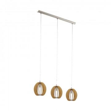 Подвесной светильник Eglo Cossano 94769, 3xE14x40W, никель, коричневый, металл, дерево