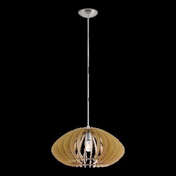 Подвесной светильник Eglo Cossano 2 95257, 1xE27x60W, никель, коричневый, металл, дерево
