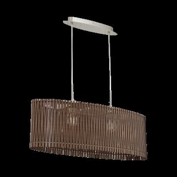 Подвесной светильник Eglo Sendero 96201, 2xE27x60W, никель, коричневый, металл, дерево