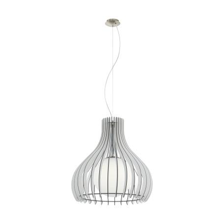 Подвесной светильник Eglo Tindori 96211, 1xE27x60W, никель, белый, черно-белый, металл, дерево