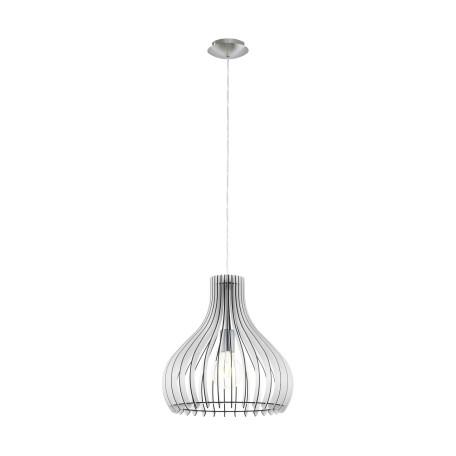 Подвесной светильник Eglo Tindori 96257, 1xE27x60W, никель, белый, черно-белый, металл, дерево
