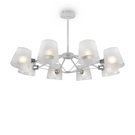 Светильник Freya Gino FR5108PL-08CH, 8xE14x40W, белый с хромом, белый, металл, стекло