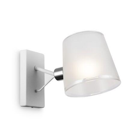 Светильник Freya Gino FR5108WL-01CH, 1xE14x40W, белый с хромом, белый, металл, стекло