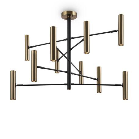 Светильник Freya Setto FR5142PL-10BBS, 10xGU5.3x5W, черный с латунью, латунь с черным, латунь, металл
