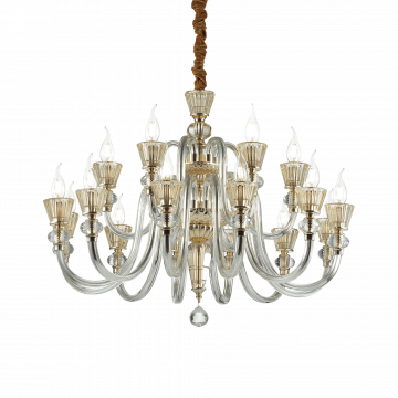 Подвесная люстра Ideal Lux STRAUSS SP18 140629, 18xE14x40W, золото, прозрачный, янтарь, металл, стекло