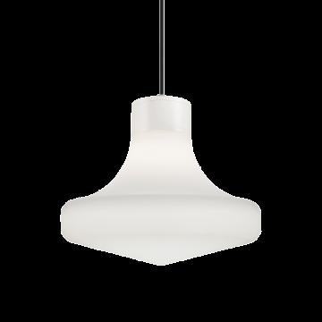 Подвесной светильник Ideal Lux SOUND SP1 BIANCO 150055, IP44, 1xE27x60W, белый, металл, пластик