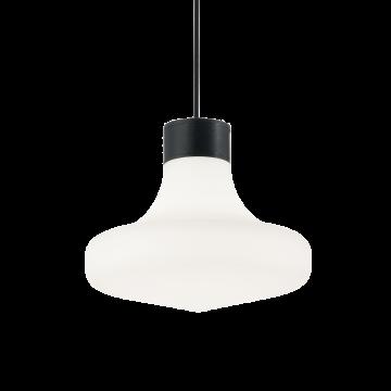 Подвесной светильник Ideal Lux SOUND SP1 NERO 150079, IP44, 1xE27x60W, черный, белый, металл, пластик