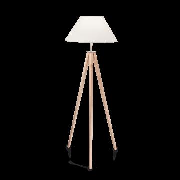 Торшер Ideal Lux TRIDENTE PT1 146317, 1xE27x60W, коричневый, белый, дерево, текстиль