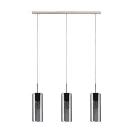 Подвесной светильник Eglo Selvino 98695, 3xE27x15W, никель, дымчатый, металл, стекло