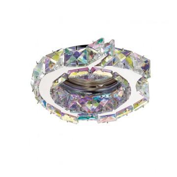 Встраиваемый светильник Novotech Ringo 370173, 1xGU5.3x50W, хром, разноцветный, металл, хрусталь