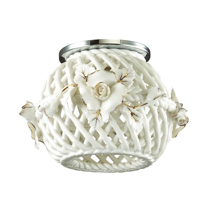 Встраиваемый светильник Novotech Farfor 370207, 1xG9x40W, хром, белый, металл, керамика - фото 1