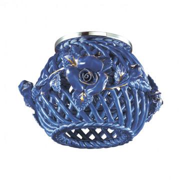 Встраиваемый светильник Novotech Farfor 370209, 1xG9x40W, хром, золото, синий, металл, керамика