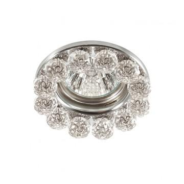Встраиваемый светильник Novotech Maliny 370225, 1xGU5.3x50W, хром, прозрачный, металл, хрусталь - миниатюра 1