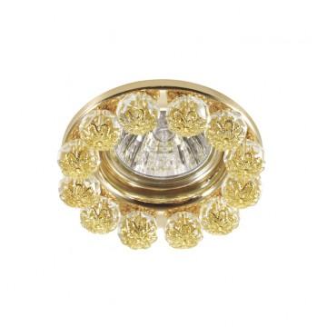 Встраиваемый светильник Novotech Maliny 370226, 1xGU5.3x50W, золото, прозрачный, металл, хрусталь