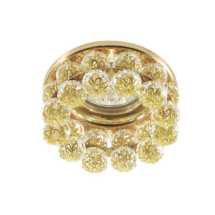 Встраиваемый светильник Novotech Maliny 370228, 1xGU5.3x50W, золото, прозрачный, металл, хрусталь - фото 1