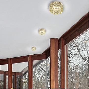 Встраиваемый светильник Novotech Maliny 370228, 1xGU5.3x50W, золото, прозрачный, металл, хрусталь - миниатюра 2