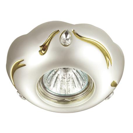 Встраиваемый светильник Novotech Grain 370288, 1xGU5.3x50W, белый, золото, прозрачный, металл, хрусталь
