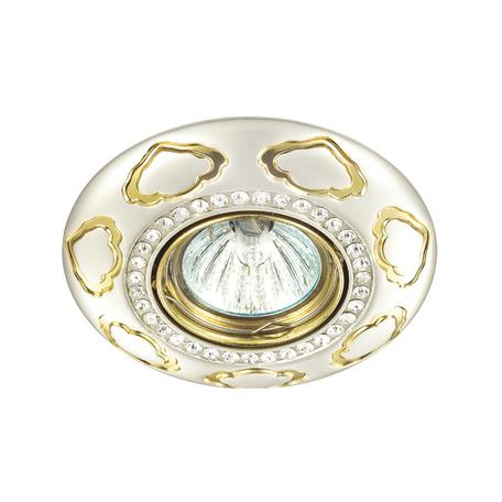 Встраиваемый светильник Novotech Grain 370291, 1xGU5.3x50W, белый, золото, прозрачный, металл, хрусталь