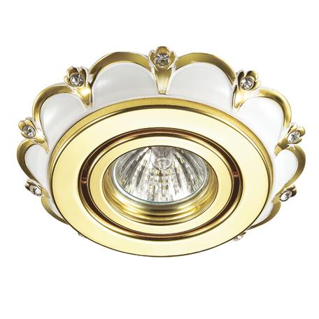Встраиваемый светильник Novotech Grain 370297, 1xGU5.3x50W, белый, золото, прозрачный, металл, хрусталь