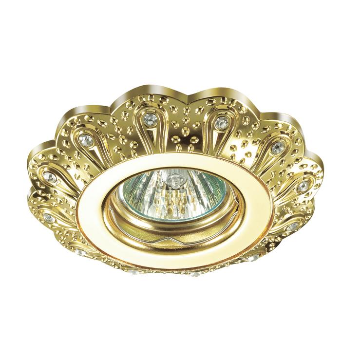 Встраиваемый светильник Novotech Grain 370299, 1xGU5.3x50W, золото, прозрачный, металл, хрусталь - фото 1