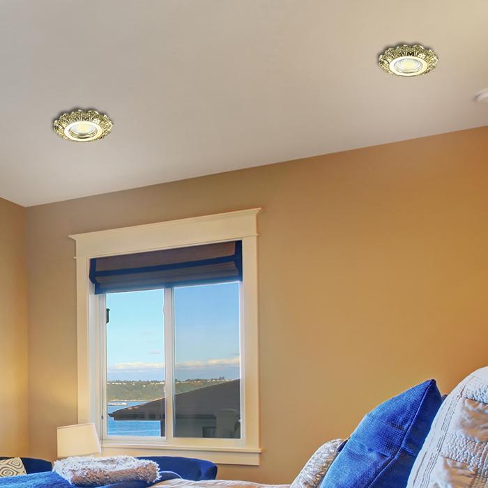Встраиваемый светильник Novotech Grain 370299, 1xGU5.3x50W, золото, прозрачный, металл, хрусталь - фото 2