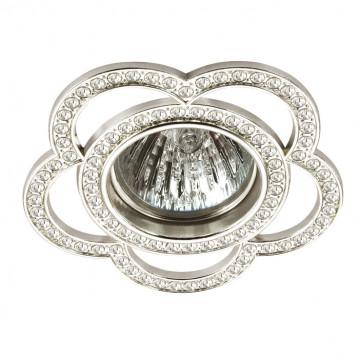 Встраиваемый светильник Novotech Candi 370347, 1xGU5.3x50W, прозрачный, серебро, металл, хрусталь