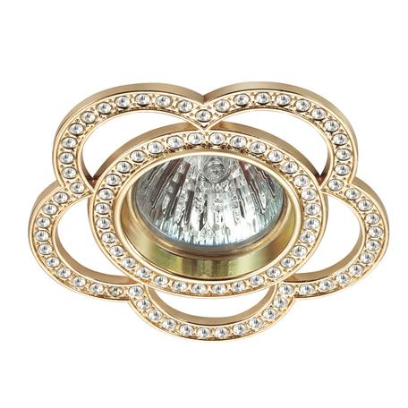 Встраиваемый светильник Novotech Candi 370349, 1xGU5.3x50W, золото, прозрачный, металл, хрусталь