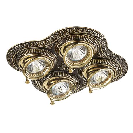 Встраиваемый светильник Novotech Vintage 370180, 4xGU5.3x50W, коричневый, золото, металл