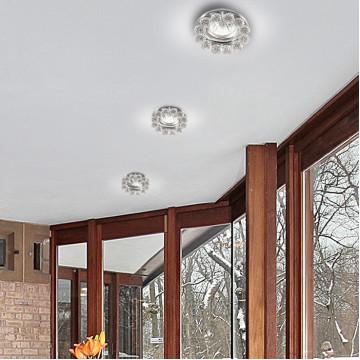 Встраиваемый светильник Novotech Spot Maliny 370225, 1xGU5.3x50W, хром, прозрачный, металл, хрусталь - миниатюра 2