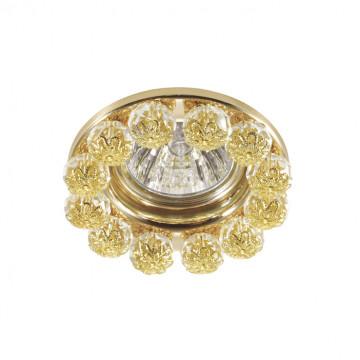 Встраиваемый светильник Novotech Spot Maliny 370226, 1xGU5.3x50W, золото, прозрачный, металл, хрусталь