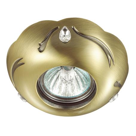 Встраиваемый светильник Novotech Grain 370287, 1xGU5.3x50W, бронза, металл с хрусталем