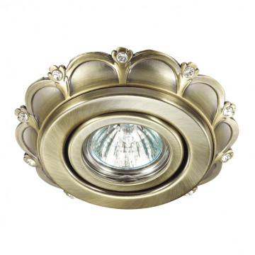 Встраиваемый светильник Novotech Grain 370293, 1xGU5.3x50W, бронза, металл с хрусталем, металл