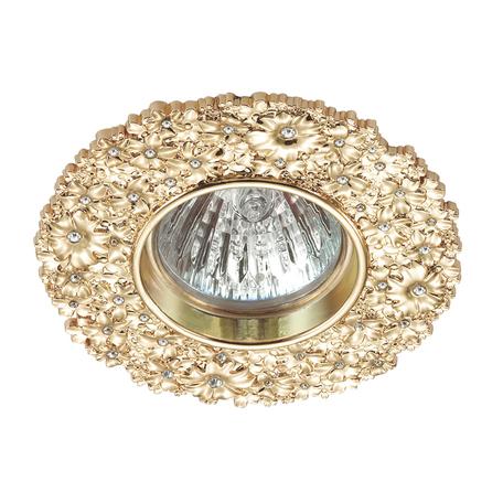 Встраиваемый светильник Novotech Spot Candi 370334, 1xGU5.3x50W, золото, металл с хрусталем