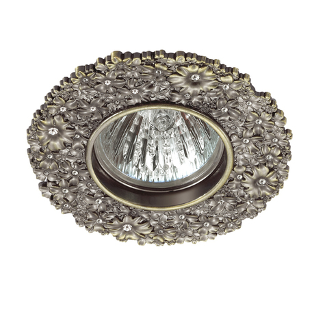 Встраиваемый светильник Novotech Spot Candi 370336, 1xGU5.3x50W, бронза, металл с хрусталем