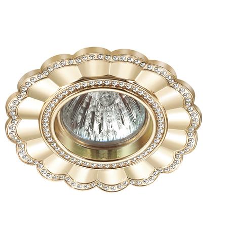 Встраиваемый светильник Novotech Candi 370344, 1xGU5.3x50W, золото, металл с хрусталем