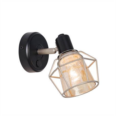 Настенный светильник с регулировкой направления света Citilux Таверна CL542511, 1xE14x60W, черный, бежевый, металл, стекло